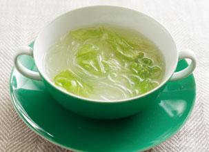 春雨とレタスのしょうがスープ
