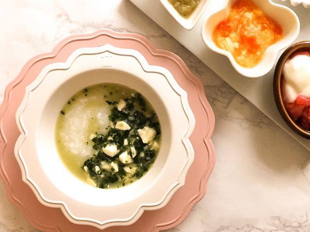 小松菜、豆腐、白身魚のあんかけ粥