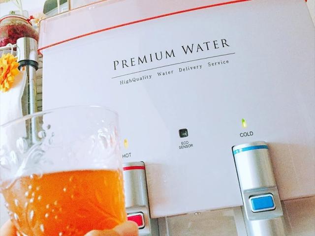 水分補給に、以前作った梅シロップをプレミアムウォーターのお水で割って飲んでいます♪